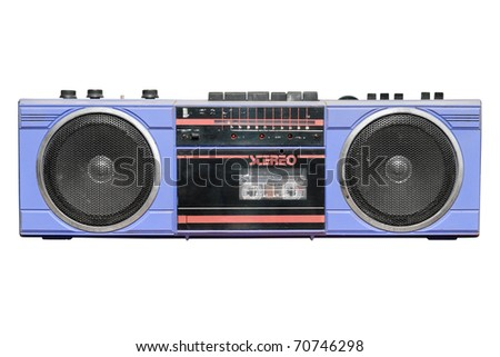 Old vintage stereo cassette/radio recorder. Isolated on white background with clipping path.