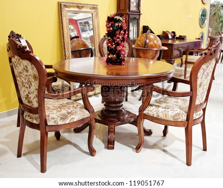 old vintage style chairs and table, interior equipment