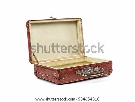 Old vintage suitcase opened front isolated on white Stock photo ©