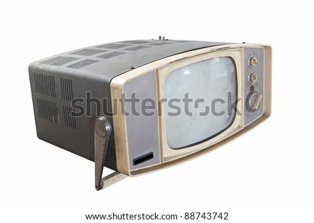 Old vintage television isolated on white background - stock photo