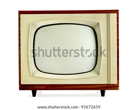 Old vintage television isolated on white background with copy space (clipping path included)