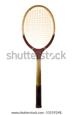 Old vintage tennis racket isolated on white