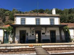 Old vintage train station during summer