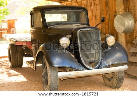 Old 1930 vintage  truck in good working condition  in a farm of Utah, USA - stock photo
