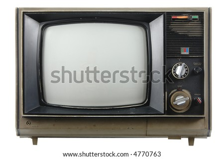 Old vintage TV isolated on a white background