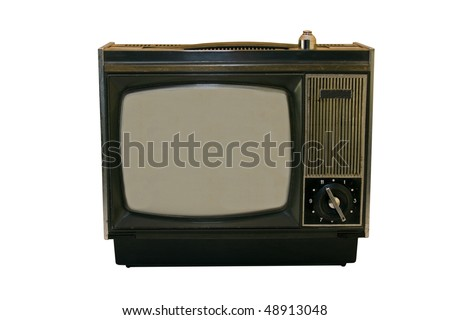 Old vintage TV isolated on white.