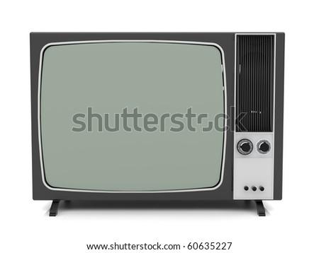 Old vintage TV over a white background.