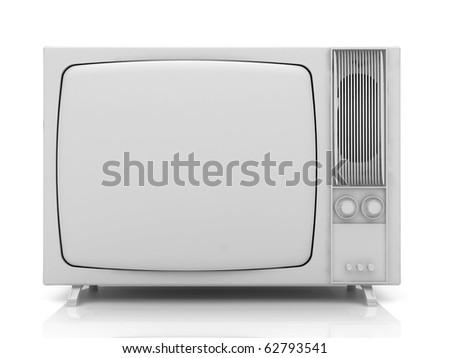 Old vintage TV over a white background. 3d rendered illustration.