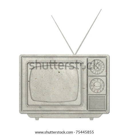 Old vintage TV recycled paper on white background