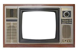 Old vintage TV television isolated on white background. This has clipping path.