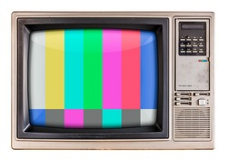 Old vintage TV with colorful glitch screen.