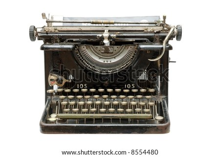 Old vintage type-writer isolated