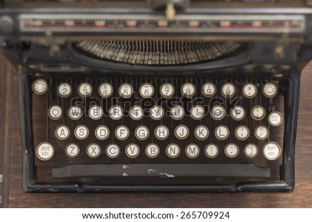 Old vintage typewriter keys in this retro creative writing and relaxation themed desk top