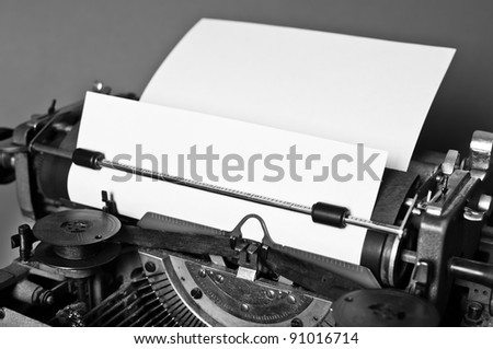 Old vintage typewriter with russian keyboard