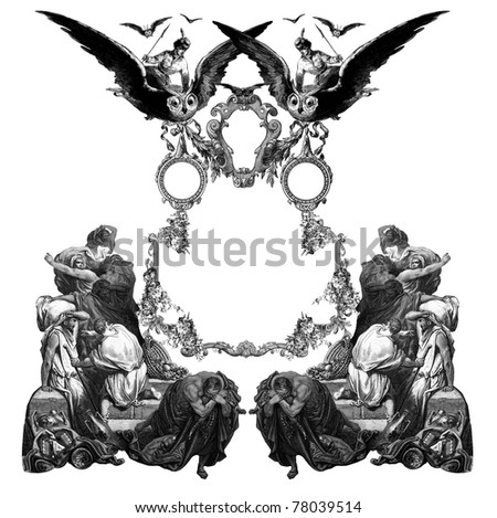 Old Vintage Victorian frame with frightened people and owls.