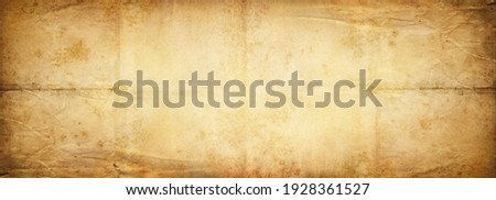 Old vintage wide background paper, rough texture for design paper background. Brown color wallpaper. Ancient paper of the 18th century. Stock photo ©