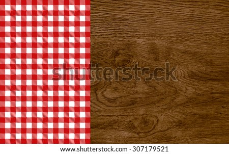 Old vintage wood background with tablecloth red white