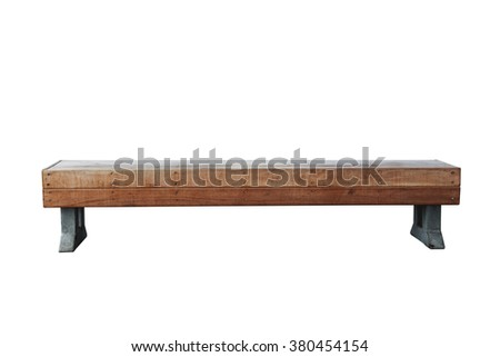 old vintage wood bench against white background