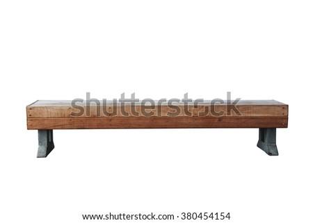 old vintage wood bench against...