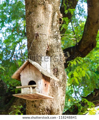 Old vintage wooden birdhouse tied into the tree #118248841