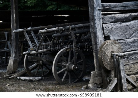 Old vintage wooden cart. Traditional wooden cart, Transylvania