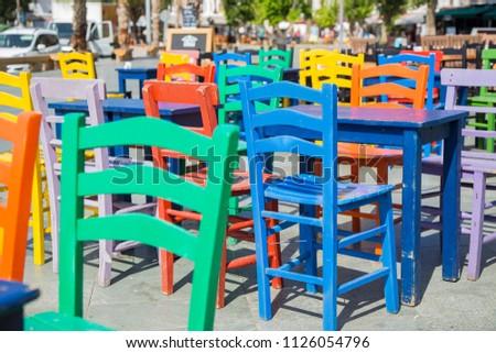 Old vintage wooden chair on the street in Kas, Antalya, Turkey #1126054796