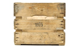 Old vintage wooden crate on a white background