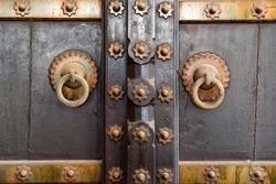 Old vintage wooden door in India close