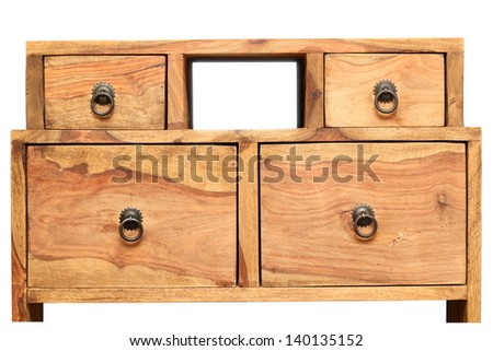 old vintage wooden furniture part isolated over white background
