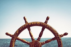 Old Vintage Wooden Helm Wheel