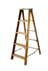 Old vintage wooden ladder on white