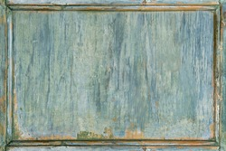 Old vintage wooden painted green frame background empty for copy space