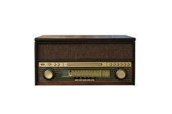 Old vintage wooden radio isolated on white background