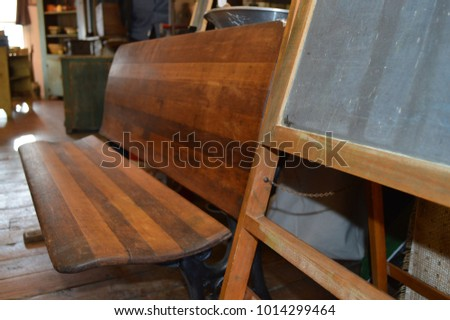 Old, Vintage Wooden School Bench and  Teacher's Chalk Board, Angled Shot #1014299464