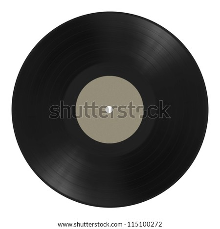 old vinyl music record isolated on white background