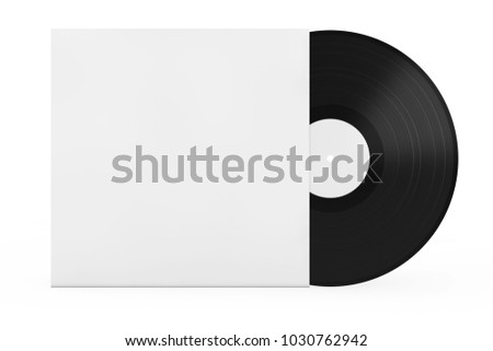 Old Vinyl Record Disk in Blank Paper Case with Free Space for Your Design on a white background. 3d Rendering