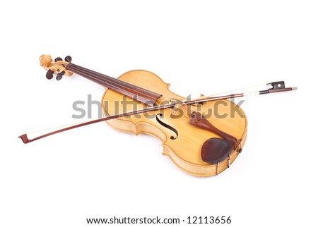 Old viola and a bow on top