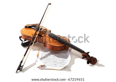 Old violin bow and notes crossed isolated on white - stock photo