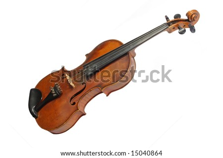 Old violin isolated on white background