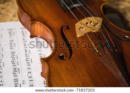 old violin with score