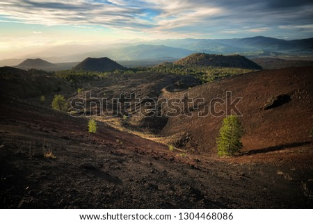 old volcanic cones in Etna Park at twilight, Sicily