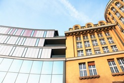 old vs new facades of buildings tradition vs moderne in Leipzig