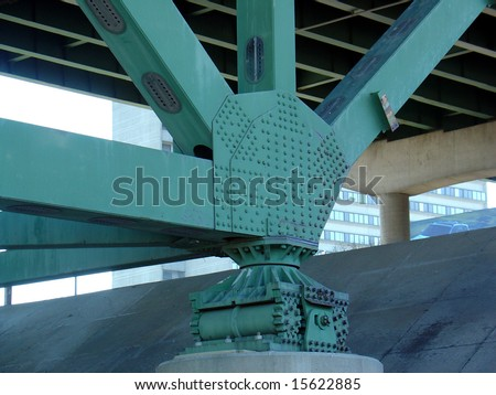 Old 35W Bridge beams, gusset plates and roller bearing - stock photo