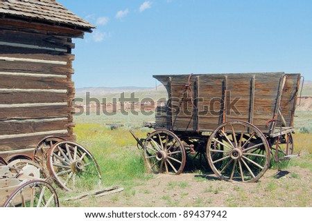 Old Wagon in a Ghost Town in Wyoming