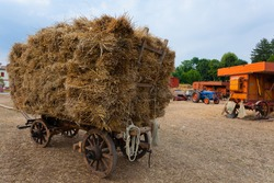 Old wagon straw, agriculture, rural life