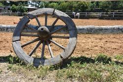 old wagon wheel in the farm