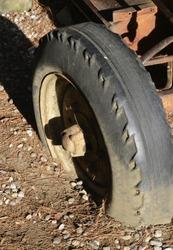 old wagon wheel of tractor