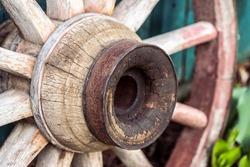 Old wagon wheel on a farm