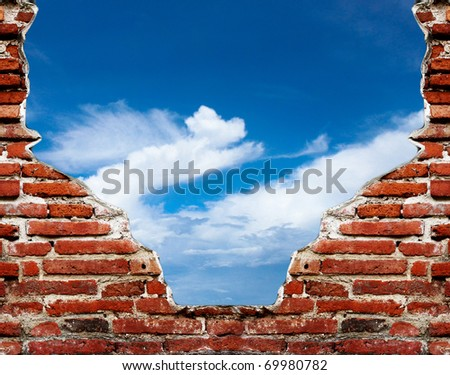 old wall and blue sky with clouds. Uneven diffuse lighting version. Design component