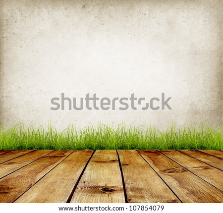 Old wall and green grass on wood floor background #107854079